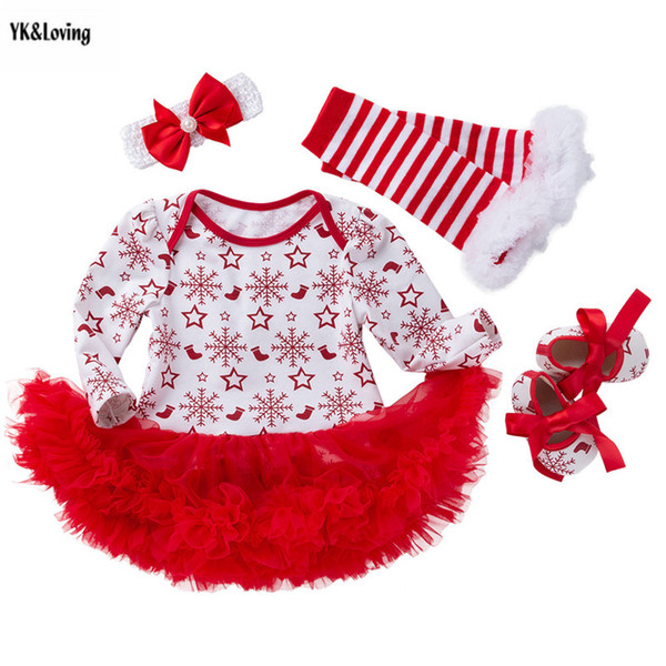Christmas Baby Girl Clothing Autumn Funny Star and Snow Print Party Baby Set 1pc Bodysuit+1pc Tutu+1pair Shoes+1Pair Leg Tube Y18120801