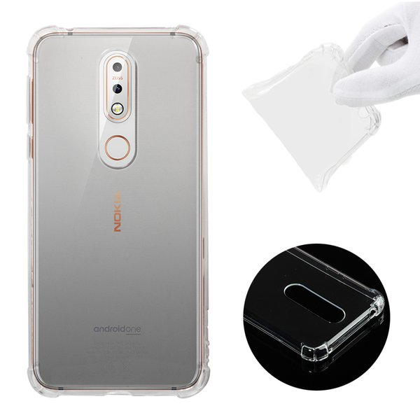 Soft Clear Slim Fit TPU Back Case For Nokia 7.1 6.1 2018 Air Cushion Shockproof Crystal Bumper