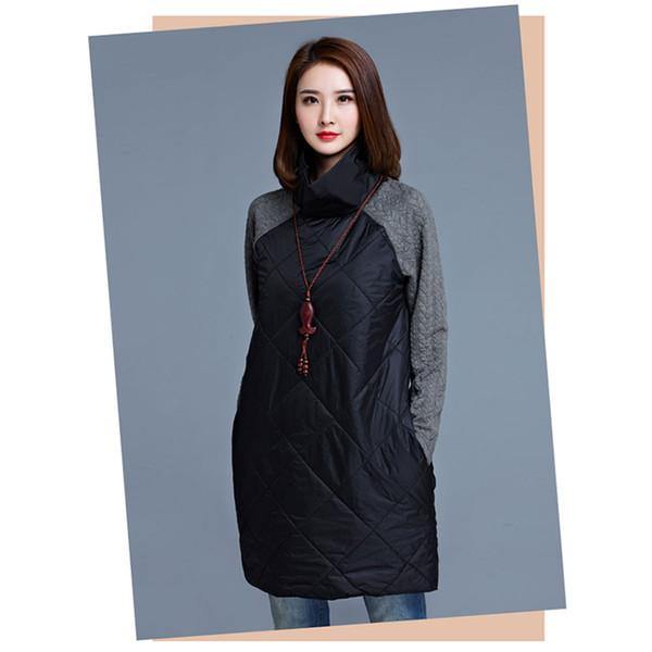 Femmes Patchwork Longues Vestes De Mode Parkas En Coton Automne Hiver Casual Robe Lâche Robe Manteaux Noir Gris Plus La Taille M-4XL Dames