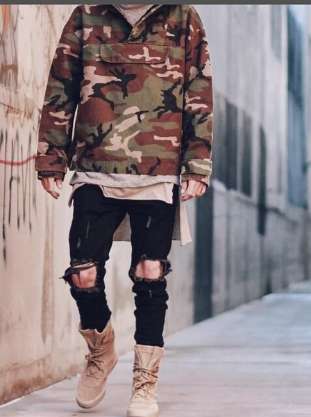 Men's Camo Jacket Fear Of God Oversized Hooded Jacket Military Camouflage Trench Coat Long Sleeve Pullover Hoodie Coats MJG0919