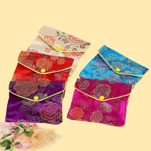 High Quality 5 Colors Jewelry Storage Bags Silk Chinese Tradition Pouch Purse Gifts Jewels Organizer SQC7452
