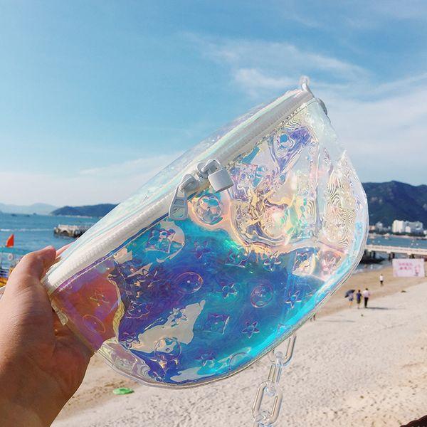 Designer-Laser marsupio tracolla catena tracolla tracolla trasparente Trasparente beach party bag lady donna marsupio viaggio esterno