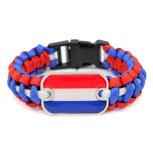 Cheap Handmade Royal Blue Red White Umbrella Rope Bracelets Unisex Glass Rectangle Holland National Flag Outdoor Survival Paracord Jewelry