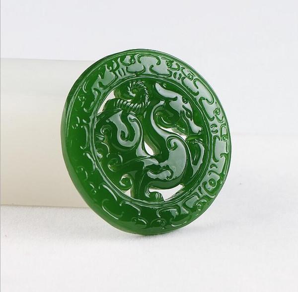 Chinese Natural Green Hetian Jasper Jade Hand-Carved Dragon shape Pendant B16