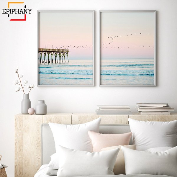 2019 Modern Ocean Print Coastal Wall Art Beach Decor Pastel Canvas Painting  Sunset Bedroom Decor Large Posters And Prints Living Room From Copy02, ...