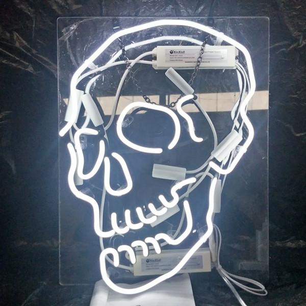 Custom Skull Neon Sign Light Outdoor Beer Party Entertainment Advertising Display Glass Neon Lamp Light Metal Frame 17'' 20'' 24'' 30''