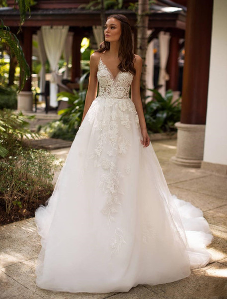 Berta Sheer Lace Beach Wedding Dresses Deep V Neck Appliqued A Line Backless Sweep Train Bohemian Country Style Bridal Gowns