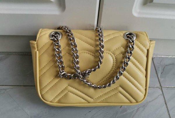 Gümüş zincir 26cm ile sarı çanta