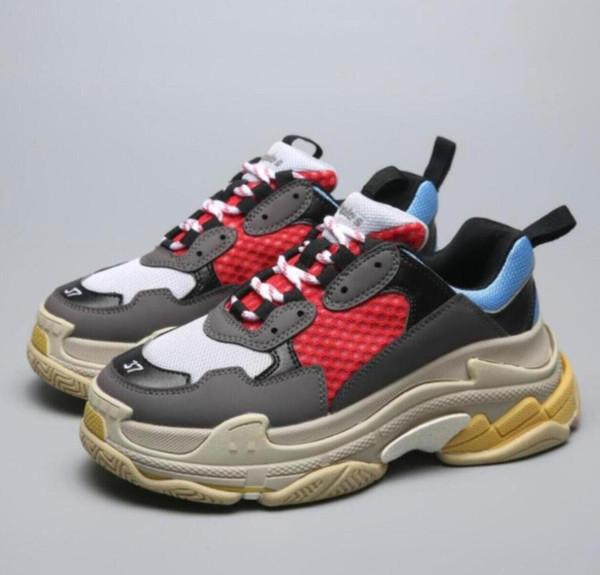 Горячий Париж 17FW мода тройной S Повседневная обувь мужчины женщины кроссовки высокого качества смешанные цвета толстый каблук дедушка Повседневная обувь размер 36-45