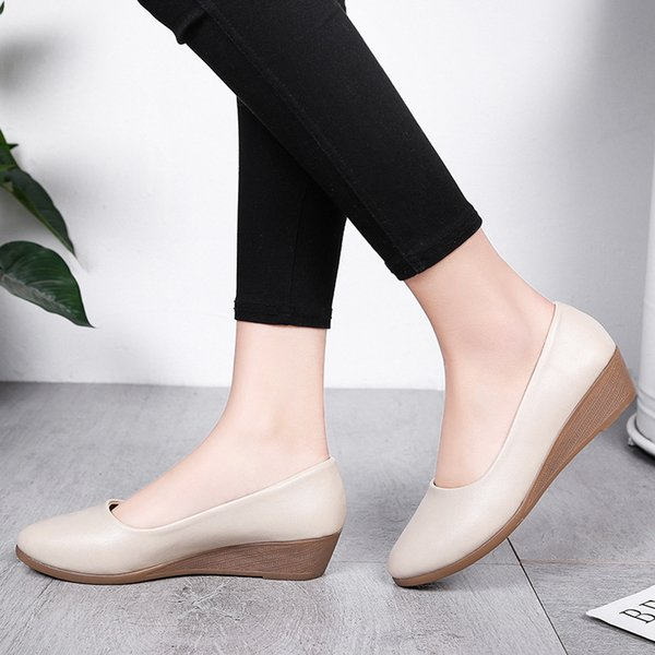 2019 women's summer new style korean-style low heel women's wedge shoes peep-toe workplace thick bottomed sandals, Black