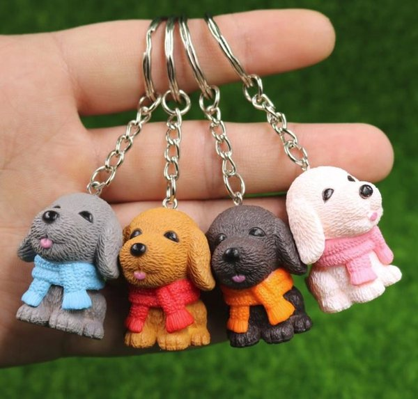 Dog Keychain Key Ring Cute Pet Dog Animal Couple Keychain Lovely Car Keyring Birthday Gift 4 Colors Mix 24pcs/lot wholesale