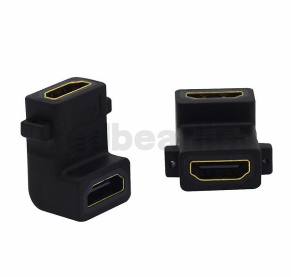 Gold Plated HDMI Female to HDMI Female 90 Degree Up Angle HDMI F/F with Screw holes Extension Adapter