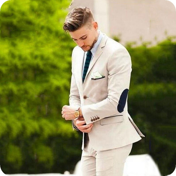 Custom Made Elbow Patches Khaki Men's Classic Suits Blazer Casual Jacket Male Business Wear Slim Fit Groom Tuxedo 2Piece Gentle Man Pants