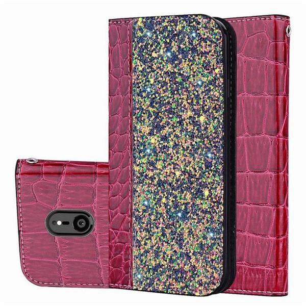 Étui portefeuille glitter magnétique en cuir de crocodile Bling Couverture de porte-cartes Kickstand pour iPhone X XS MAX XR 8 SCA549
