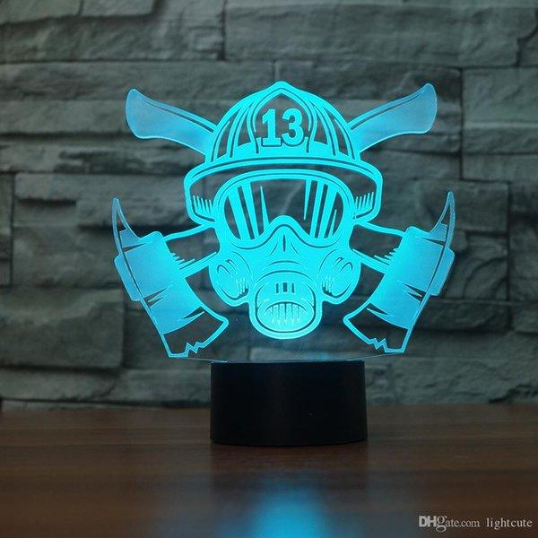 Fireman Helmet 3D Illusion Night Light Touch 7 Color Change Home Decor Baby Girl Boy LED Lamp Kids Gift Christmas Xmas Gift