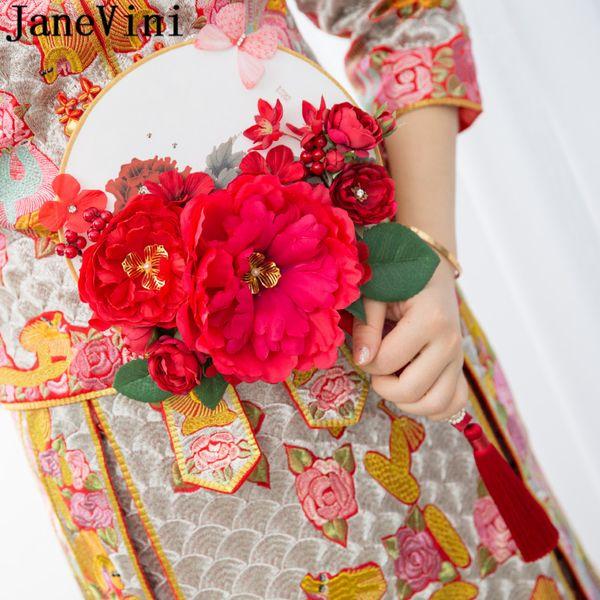JaneVini künstliche rote Blumen, die Blumensträuße für Braut-chinesisches Art-Goldblumen wulstiges Brautventilator-Blumenstrauß Ramo Novia Rosa 2019 Wedding sind