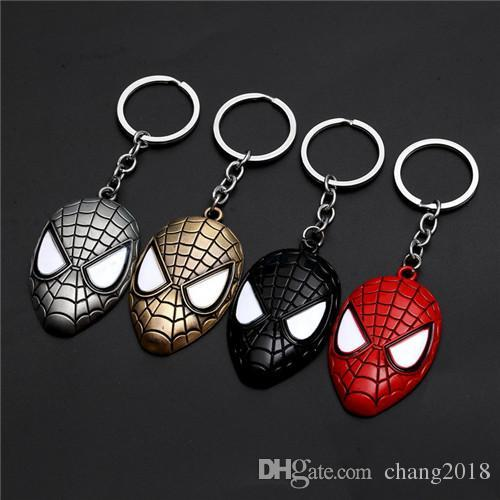 17 styles Marvel Avengers Spiderman Mask Keychain Cartoon Figure Superhero Spider Man Pendant Key Chain Key Ring Trinket Gift jssl001