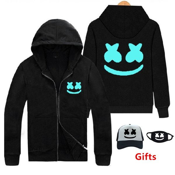 Cap&Mask as Gifts Marshmello hoodies sweatshirts Luminous glow in dark hip hop Rapper Bboy DJ dancer tracksuits hooded jacket