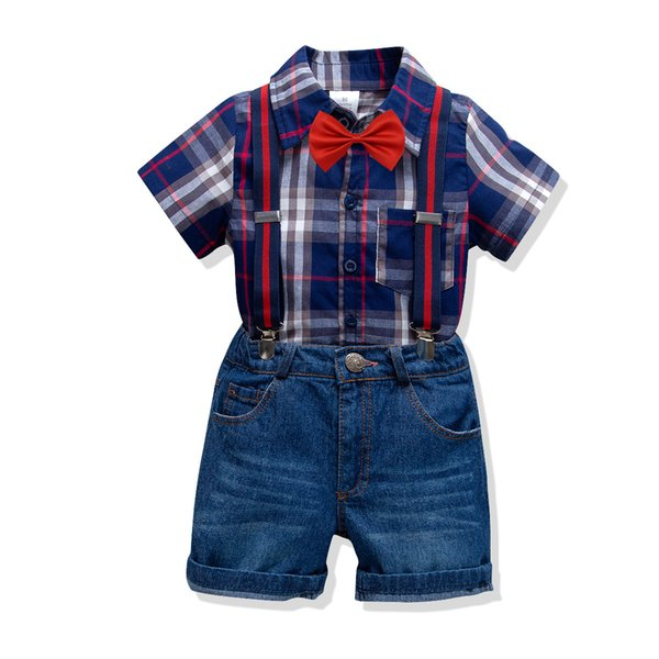 Baby Sets Boy Plaid Bow Shirts with Denim Overalls Kids Clothing 2019 Fashion Gentleman Casual 2PCS Outfits