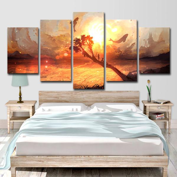 Tuval Resimleri Ev Dekorasyonu 5 Parça Tuval Renkli Soyut Gökyüzü Resim Sergisi Duvar Sanatı HD Baskılar Karikatür Afiş