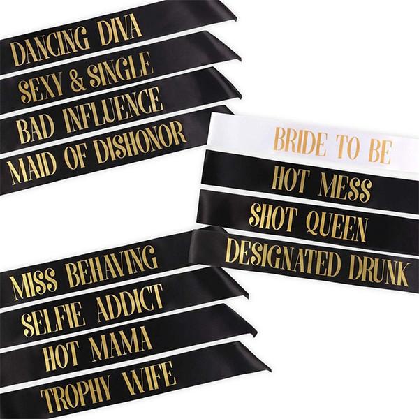 Bachelorette Party Schärpen Braut erschossen werden Königin Schultergurt Hot Mess Etikette Gürtel mit verschiedenen Muster 2jqa J1