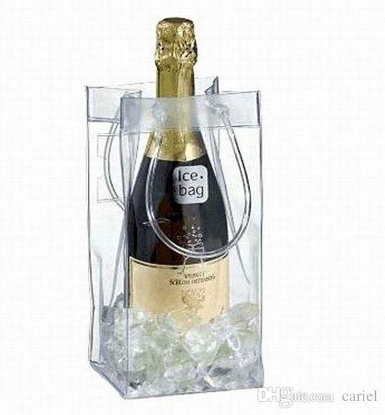 Cariel Бесплатная доставка вина охлаждения мешок льда PVC бутылка пива держатель Подарочные мешки вина мешок льда 100pc wn088B