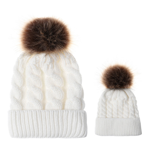 8Colors Mom And Baby Hat with Pompon Warm Raccoon Fur Bobble Beanie Kids Cotton Knitted Parent-Child Hat Winter Caps Xmas Gift