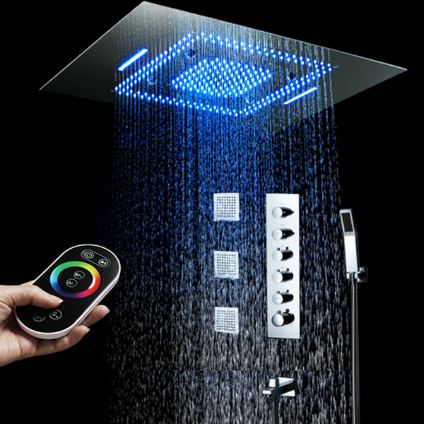 Modern 600*800mm Large Recess Ceiling LED Shower Head Set 64 color Overhead Big Rain waterfall Misty Bathroom Faucets with massage body jets