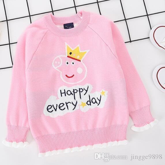 2019 корейской версия чистого хлопка свитера для детей детского короны поросенка жаккардовых плеч рукав свитер производитель прямого ска
