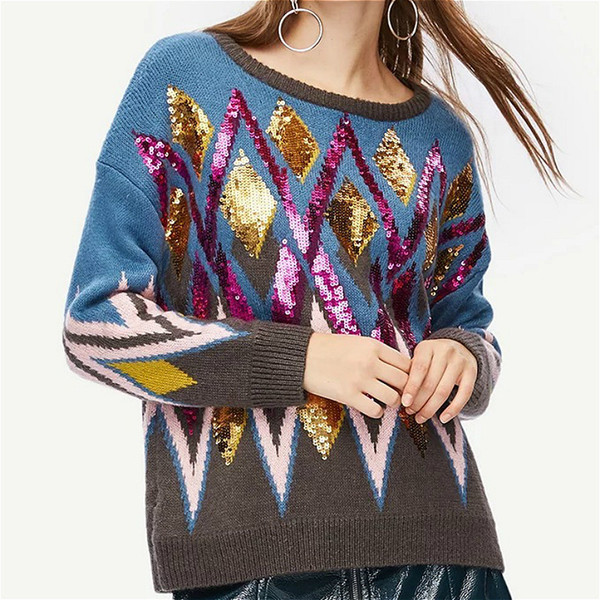 7321881594c 2019 Luxury Brand Autumn Winter Sweaters Pullovers Knitted Women Runway  Argyle Striped Color Bead Jumper Ladies
