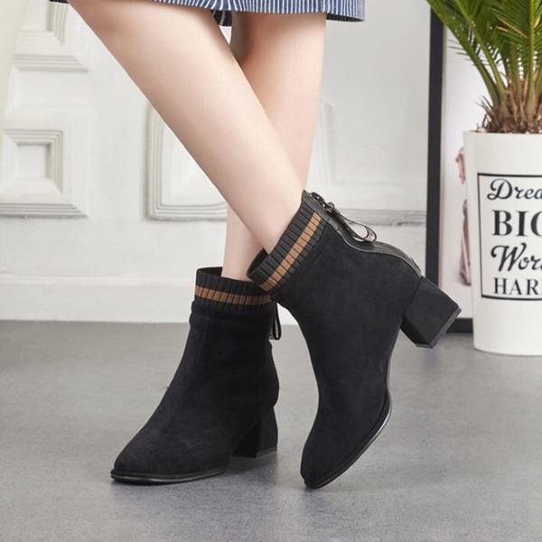 2019 Moda de tacón alto botas de las mujeres de alta calidad Slip-en la plataforma para mujer del tacón alto del tobillo Tamaño Martin botas de moda salvaje 35-39