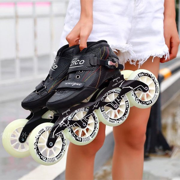 top popular Speed Inline Skates Carbon Fiber 4*90 100 110mm Competition Skates 4 Wheels Street Racing Skating Roller Skate Party Gifts 2020