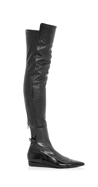2019new черная натуральная кожа Роланд стрейч заостренная молния сзади бедра высокие плоские сапоги размер 35-42