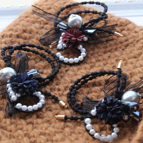 2PCS/LOT Letter diamond pearl hair ring Hair Clips Barrettes Black White Hair Clamps Women Girl Jewelry Accessories