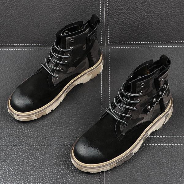 Otoño Martin botas negras versión coreana masculina de la tendencia de las botas casuales botas de vaquero de los hombres de Corea del alto-top zapatos engrosamiento aumentó 60