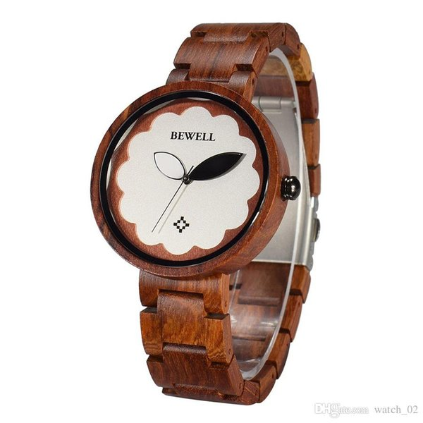 BEWELL W152A Fashion Wooden Watches Quartz Analog Movement Flower Dial Lightweight Wristwatch for Women with Imitated leaf