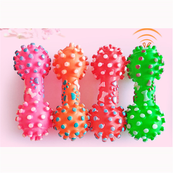 top popular New Arrive Dog Toys Colorful Dotted Dumbbell Shaped Dog Toys Squeeze Squeaky Faux Bone Pet Chew Toys For Dogs 2021