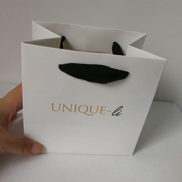 commercio all'ingrosso 500pcs / lot sacchetto di carta di imballaggio di marchio di stampa di riciclaggio di lusso su ordinazione personalizzato # 90013