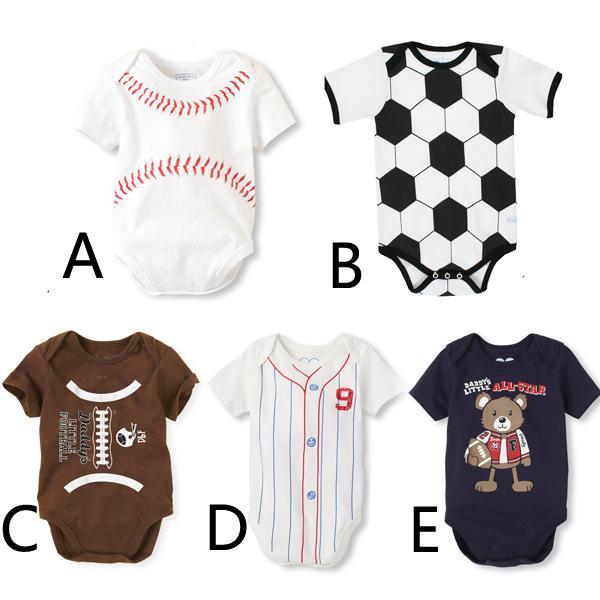 Monos recién nacidos Béisbol de primavera Fútbol Fútbol Corbata impresión mameluco Béisbol Softbol Manga corta Niño Ropa infantil MMA1870