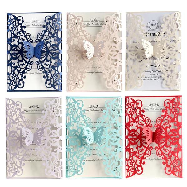 Gift Card 10PCS Inviti di nozze farfalla Laser Cut Biglietti di auguri del partito di stile europeo festa di compleanno cartoline di Natale