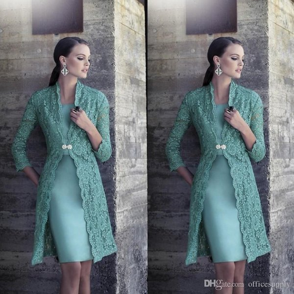 Turquoise Plus Size Mother Of Bride Dress with Jacket Long Sleeves Vintage Lace Knee Length Satin Cheap Bride Groom Prom Gowns