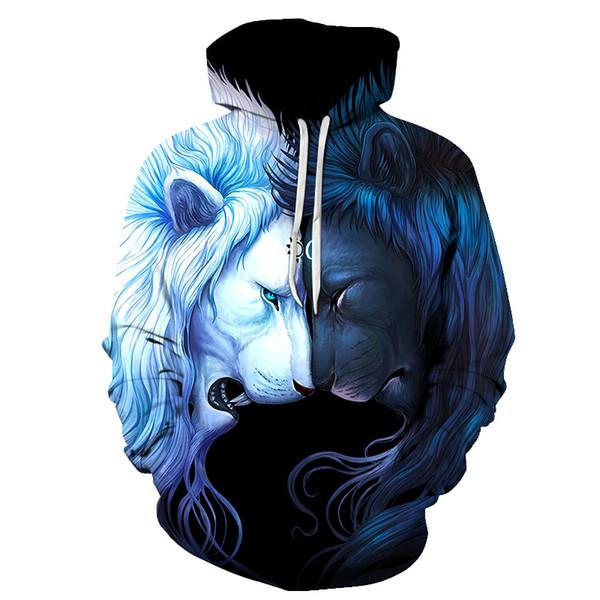 Raum Galaxy Hoodies löwe Print Mit Kapuze Männer / Frauen Hut 3d Sweatshirts Dünne Herbst Sweatshirts Hip hop Pullover Gelbe augen hoody