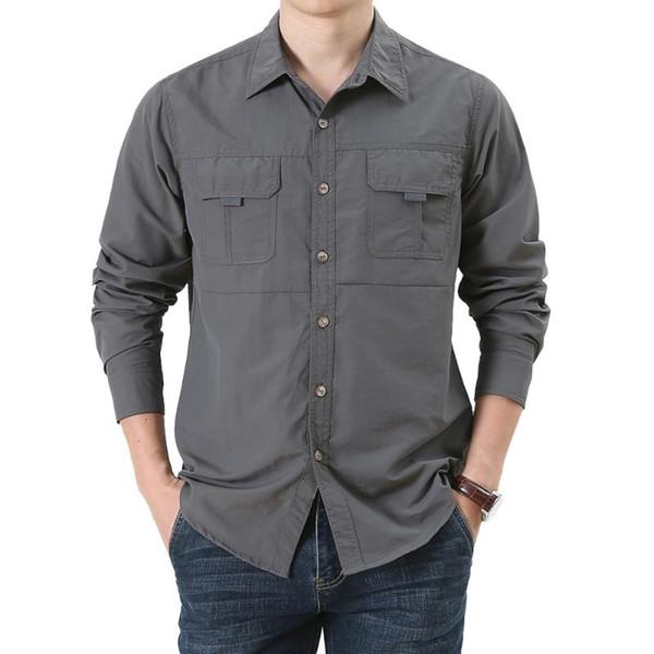 Adam Yaka Streetwear Camisa Masculina Standı MoneRffi 2020 Erkekler Rasgele Açık Gömlek Uzun Kollu Nefes Ve Hızlı Kuru Gömlekler