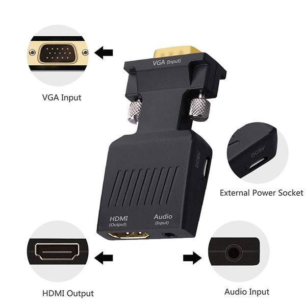 VGA to HDMI Adapter, Stereo R/L channel 5V1A VGA to HDMI Cable Converter With Audio for HDTV, VGA Male to HDMI Female