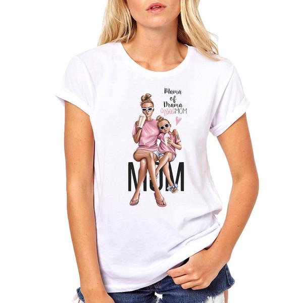 La camiseta del amor de la madre para las mujeres camiseta estupenda de las mujeres Mamá viste la camiseta de manga corta del verano Vogue camiseta de Harajuku Tops
