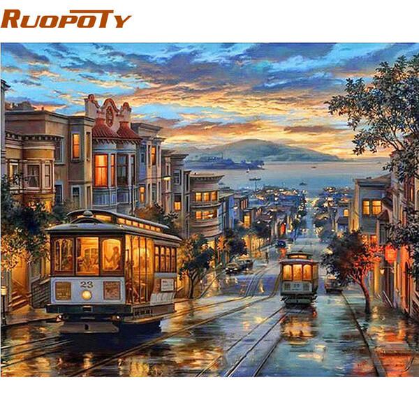 Ruopoty Quadro Cidade Night Bus Pintura A Óleo Diy By Numbers Paisagem Moderna Arte Da Parede Da Lona Pintura de Presente Original Da Arte Da Parede Q190426