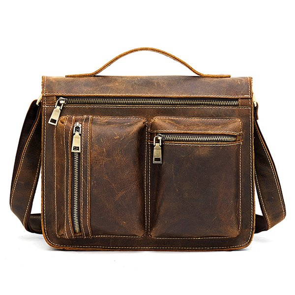Man Genuine Leather Briefcases Crossbody Shoulder Fashion Mochi Anti-theft Handbag Messenger Male Blosa Business Travel Gifts