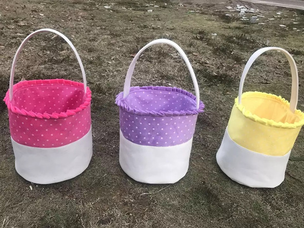 Easter Gift Polka Dot Canvas Easter Basket High Quality Handmade Hot Sale Easter Dot Bucket Bag With Lace 100pcs