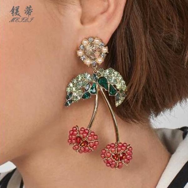 Cereza diamantes cuelgan pendientes para las mujeres de lujo perlas de cristal araña pendiente planta fruta moda oreja joyas regalos para novia