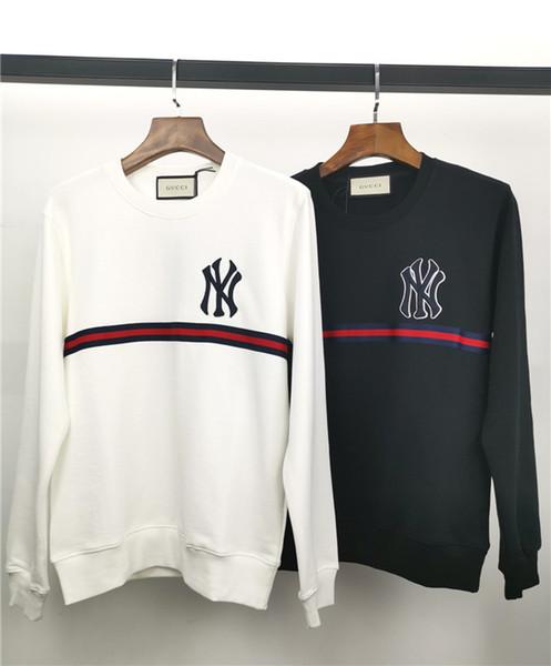 19fw Nuevo diseño de marca lujoso NY bordado logo rayas suéter con capucha Hombres Mujeres Moda casual Streetwear Sudaderas Camisas al aire libre